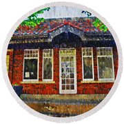 The Old Train Station Round Beach Towel