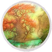 The Old Tree Of The Forest Round Beach Towel