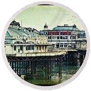 The Old Victorian West Pier Round Beach Towel
