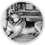 The Old Watch Dog Round Beach Towel