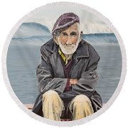 The Old Waterman Round Beach Towel by Kevin Daly