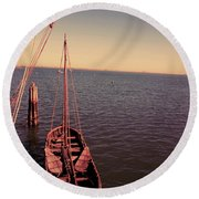The Old Wooden Boat Round Beach Towel
