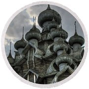 The Old Wooden Church Round Beach Towel