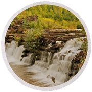 The Old Wooden Dam Round Beach Towel