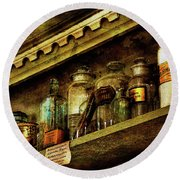 The Olde Apothecary Shop Round Beach Towel