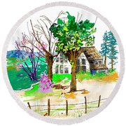 The Ole House In Spring Round Beach Towel