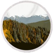 The Olympic Mountains Round Beach Towel