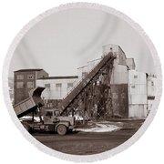 The Olyphant Pennsylvania Coal Breaker 1971 Round Beach Towel