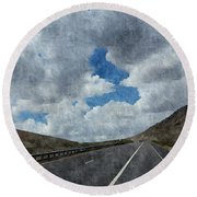 The Open Road Round Beach Towel