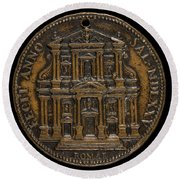 The Opening For Worship Of The Chiesa Del Gesu, Rome [reverse] Round Beach Towel