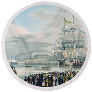 The Opening Of Saint Katharine Docks Round Beach Towel