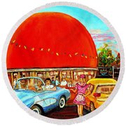 The Orange Julep Montreal Round Beach Towel by Carole Spandau