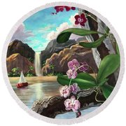 The Orchids And The Sailboat Round Beach Towel