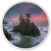 The Oregon Coast Sunset Round Beach Towel