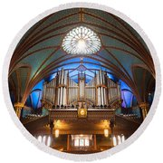 The Organ Inside The Notre Dame In Montreal Round Beach Towel