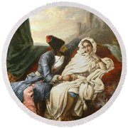 The Oriental Beauty And The Cossack Round Beach Towel