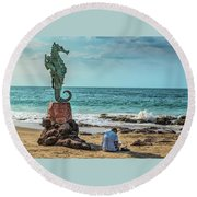 The Original Boy On The Seahorse Round Beach Towel