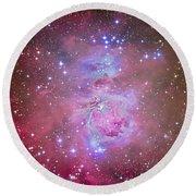 The Orion Nebula Region Round Beach Towel