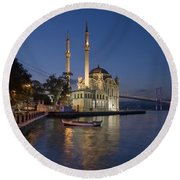 The Ortakoy Mosque And Bosphorus Bridge At Dusk Round Beach Towel