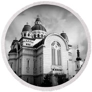 The Orthodox Cathedral And The Saint John The Baptist Church Round Beach Towel