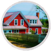 The Other Red House Monhegan Round Beach Towel