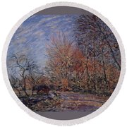 The Outskirts Of The Fontainebleau Forest Round Beach Towel