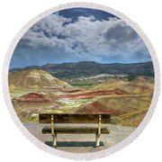 The Overlook At Painted Hills In Oregon Round Beach Towel