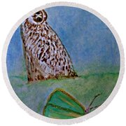 The Owl And The Butterfly Round Beach Towel