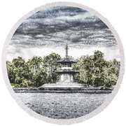The Pagoda In The Snow Round Beach Towel