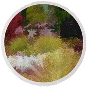 The Painted Garden Round Beach Towel