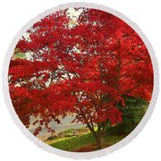 The Painted Leaves Round Beach Towel