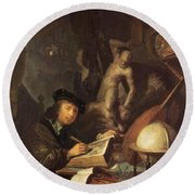 The Painter In His Workshop 1647 Round Beach Towel