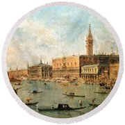 The Palace And The Molo From The Basin Of San Marco Round Beach Towel