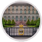 The Palace Courtyard Round Beach Towel