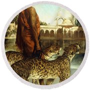 The Palace Guard With Two Leopards Round Beach Towel