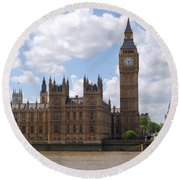 The Palace Of Westminster Round Beach Towel