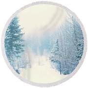 The Pale Kiss Of Winter Round Beach Towel