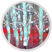 The Pale Trees Of Winter Round Beach Towel
