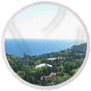 the panorama of the ancient castle on a rock, the symbol of the Republic of Crimea on the background Round Beach Towel