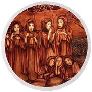 The Parable Of The Ten Virgins Round Beach Towel