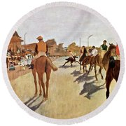 The Parade, Digitally Enhanced Highest Resolution,race Horses In Front Of The Tribune, Edgar Degas Round Beach Towel