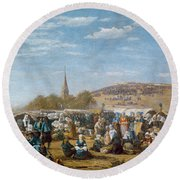 The Pardon Of Sainte Anne La Palud Round Beach Towel