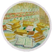 The Parisian Novels Or The Yellow Books Round Beach Towel