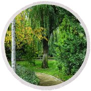 The Park Federico Garcia Lorca Is Situated In The City Of Granada, In Spain. Round Beach Towel