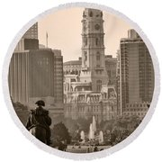 The Parkway In Sepia Round Beach Towel by Bill Cannon