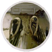 The Parquet Planers - Gustave Caillebotte Round Beach Towel