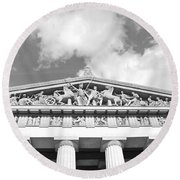 The Parthenon In Nashville Tennessee Black And White 2 Round Beach Towel