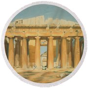 The Parthenon Round Beach Towel by Louis Dupre