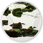 The Passetto Rocks And Water, Ancona, Italy Round Beach Towel