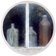 The Past In The Window Round Beach Towel